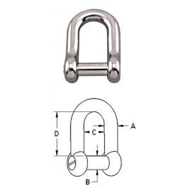 """S0115-NS16 STAINLESS 316 STRAIGHT /""""D/"""" SHACKLE 5//8/'/' NO SNAG PIN"""