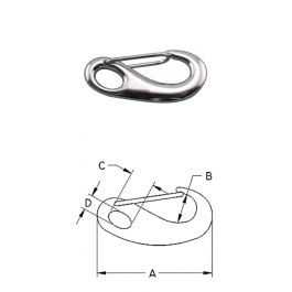 """316 STAINLESS STEEL SPRING GATE SNAP 3-3//4/"""" S0161-0100"""
