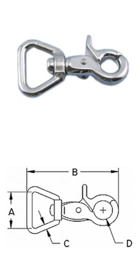 """316 STAINLESS STEEL TRIGGER SNAP /""""D/"""" BAIL 1/"""" S0192-0003"""